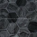 El patrón hexagonal Mezcla de cristal negro mosaico de mármol