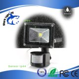Sensor de movimiento de 10W proyector LED DE SEGURIDAD
