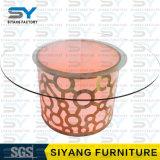 현대 둥근 유리제 식탁 솔질된 스테인리스 식탁