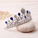 Новый устраивающих Crown Blue Crystal Свадебные аксессуары для волос волосы Tiaras Rhinestone устраивающих королевы Headpiece ювелирных изделий