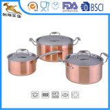 Insieme del Cookware della vaschetta della salsa di 3 PCS con una costruzione legata delle 5 pieghe