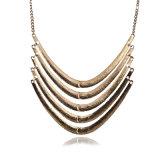 무거운 금 금속 다중 층 달 원형 목 사슬, 둥근 반지 목걸이
