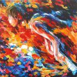 100 % toile abstraite artisanal Coloré impression avec Flower Heart