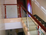 Conception en spirale spécial 12mm de verre trempé Stairscase en bois massif