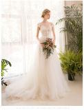O tampão Sleeves os vestidos de casamento T92482 do país do jardim do laço de Tulle do vestido do baile de finalistas da noite
