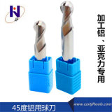 Твердые торцевые фрезы носа шарика каннелюр карбида 2 для алюминия вырезывания с высокой эффективностью от Китая