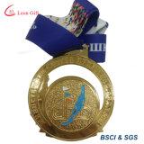 締縄が付いている高品質の金属の銀メダル