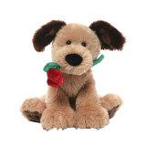ليّنة قطيفة كلب مع زهرة [فلنتين] لعبة هبات