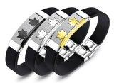 人の宝石類のギフトのための黒い革ブレスレットのカエデの葉のステンレス鋼の銀か黒または金のブレスレットの腕輪