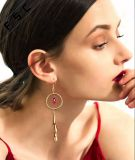 Fancy Crystal Grand entonnoir Long Hoop Dangle pendaison Tassel Earrings