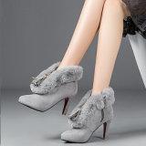 Cargadores del programa inicial del alto talón del tobillo del collar de la manera del ante del Faux del zapato de las mujeres
