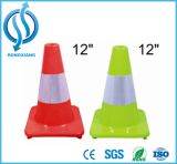 Cone de borracha high-density vermelho & branco da segurança de tráfego