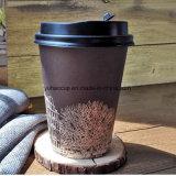 tazze di caffè di carta stampate abitudine a parete semplice di 12oz 16oz