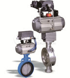 Wafer Butterfly Valve with Double Acting Pneumatic Actuator