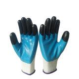 Двойной Finger-Top нитриловые перчатки с покрытием для строительных работ нитриловые перчатки промышленности с покрытием
