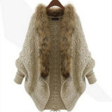 Womens Automne Hiver Cachemire tricoté en fausse fourrure garniture se sentent col châle d'enrubannage (SP603)