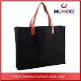 La moda bolso negro bolso de mano/lienzo de algodón Bolsa de compras para damas