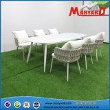 옥외 Rope Weaving Stackable Dining Table 및 Chair 정원 Furniture