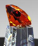 Concessão ambarina do troféu do cristal de Diamand com o OEM personalizado do logotipo