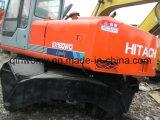 0.6cbm/16ton usados Japão-Fazem a máquina escavadora do pneu de Hitachi Ex160wd da Hidráulico-Bomba do Isuzu-Motor 6cylinders