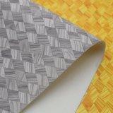 Couro Textured da esponja do PVC da grão de madeira do diamante para o saco