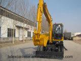 0.35m3バケツが付いている中国の新しく小さく黄色い車輪の掘削機