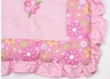 Baby GirlのためのPink Flower Super SweetのビロードPatchwork Quilt中国製