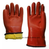 Длинные манжеты красного ПВХ рабочие перчатки