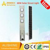 9600lm lampada esterna autoalimentata solare 60W LED tutto in un indicatore luminoso di via solare Integrated
