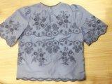 Style chaud Mesdames de la soie broderie tee-shirts en coton tissé