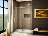 El mejor precio ducha de vidrio sin cerco puerta corredera para baño
