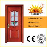 Porte intérieure en bois solide de modèle moderne avec le cadre de porte (SC-W097)