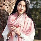 Madame en gros de mode Cotton/écharpe ordinaire de toile de couleur dans le prix bon marché