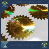 Custom Gold autocollant hologramme laser se fanent Numéro de série