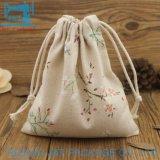 Sac en coton biologique de haute qualité coulisse/Sac avec lacet de serrage en mousseline de coton avec chaîne de chanvre