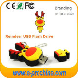 2016 Hot Selling Reindeer PVC USB Flash Drive pour Noël