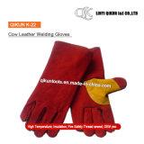 Перчатки заварки коровы безопасности померанцового цвета K-19 работая Split кожаный