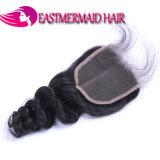 Afrouxar o fechamento brasileiro do laço do cabelo humano da onda