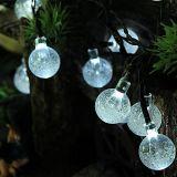 la stringa solare esterna 30LED illumina gli indicatori luminosi di natale bianchi caldi della sfera di cristallo per il giardino, iarda,