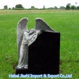 Angelo Mano-Intagliato granito nero dello Shanxi con il Headstone del cuore