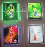 Kristallrand-Licht-einzelne doppelte Seite LED, die dünnen hellen Kasten bekanntmacht