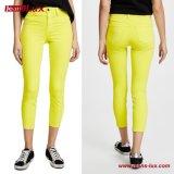 女性の女性方法衣類の細くHighlighter黄色いデニムのジーンズのズボンのズボンJl-CF028