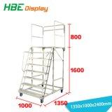 Ladder van de Stap van het Pakhuis van de supermarkt de Mobiele Rolling