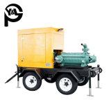 관개 장비를 가진 트레일러에 의하여 거치되는 디젤 엔진 다단식 수도 펌프