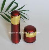 Neue Rot-/Goldacrylsahneglas-Lotion-Flasche für Kosmetik (PPC-NEW-105)