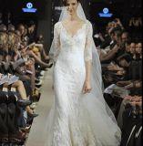 Impresionante de encaje de medias mangas con cuello en V vestido de novia de longitud completa