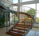 Изогнутая стеклянная лестница с поручнем нержавеющей стали Railing Frameless стеклянным