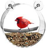 Alimentador de acrílico claro redondo del pájaro de la ventana de la dimensión de una variable del neumático