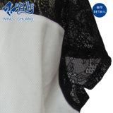 Серебристый ослабление V-образный вырез кружева точки зрения моды Short-Sleeve дамы блуза