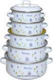 エナメルのカセロールは多彩な装飾、3set、5set、セット6または7setとセットした